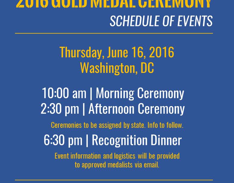 2016 Gold Medal Ceremony